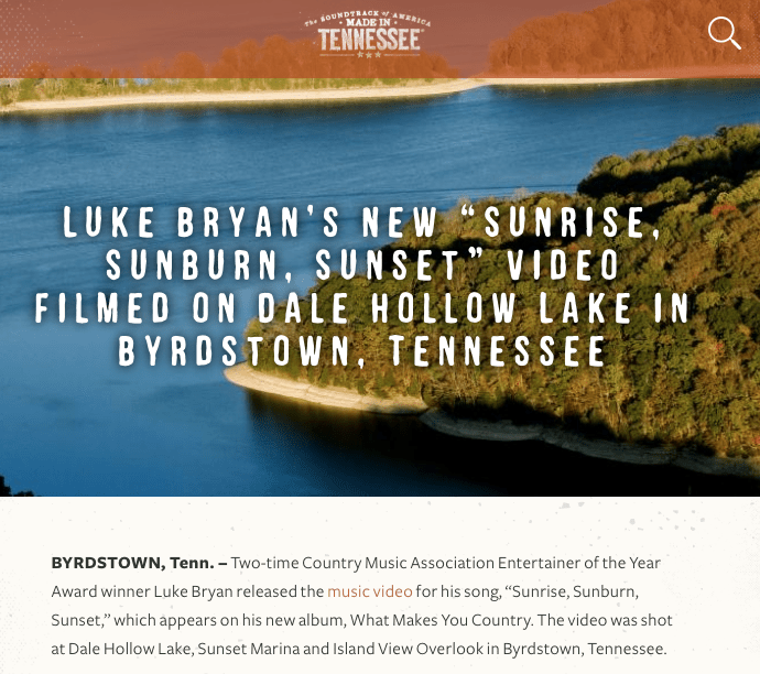 TnVacation.com Promotes Luke Bryan's Sunset Video